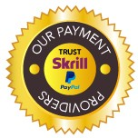 <p> </p> <p> </p> <p>We only use trusted payment providers, Skrill and Paypal so your money is safe and guaranteed</p>